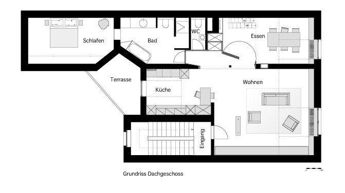 grundriss dachgeschoss dachgeschosswohnung d sseldorf. Black Bedroom Furniture Sets. Home Design Ideas