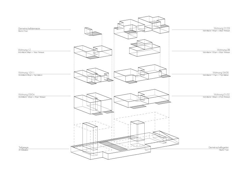Bf 30 axonometrie wohnh user bf 30 architekturobjekte for Architektur axonometrie