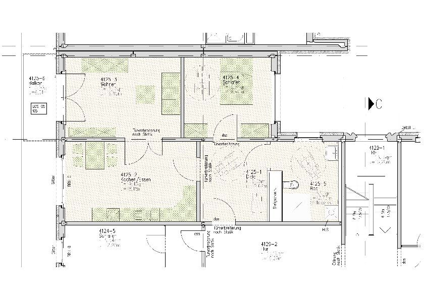 m blierter grundriss einer barrierefreien wohnung wohn und gesch ftshaus t pferstra e. Black Bedroom Furniture Sets. Home Design Ideas