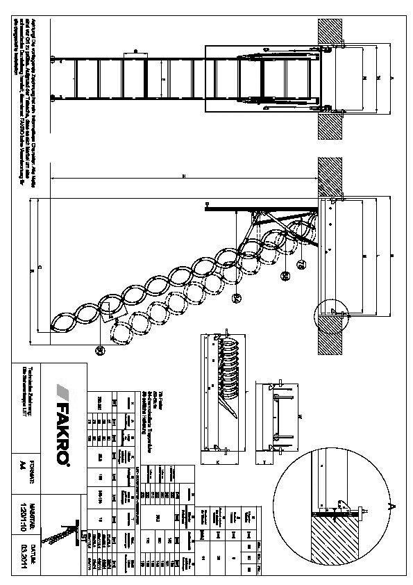 cad detail 1119513 1119514 technische zeichnung die scherentreppe lst detail fakro. Black Bedroom Furniture Sets. Home Design Ideas