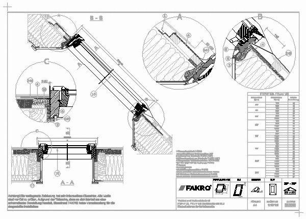 Dachfenster detail  CAD-Detail   ELJ – Eindeckrahmen für Schichtstücke   FAKRO ...