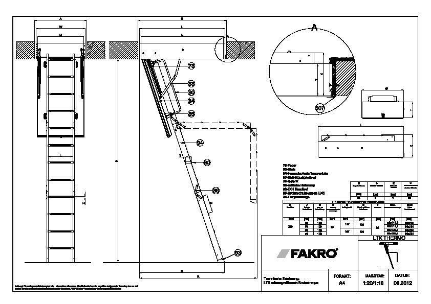 cad detail 1119513 1119528 technische zeichnung ltk w rmeged mmte bodentreppe detail. Black Bedroom Furniture Sets. Home Design Ideas