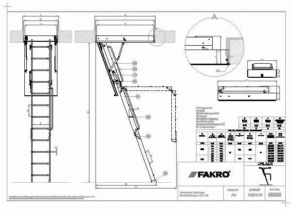 cad detail 1119513 1119527 technische zeichnung die bodentreppe lwl lux detail fakro. Black Bedroom Furniture Sets. Home Design Ideas