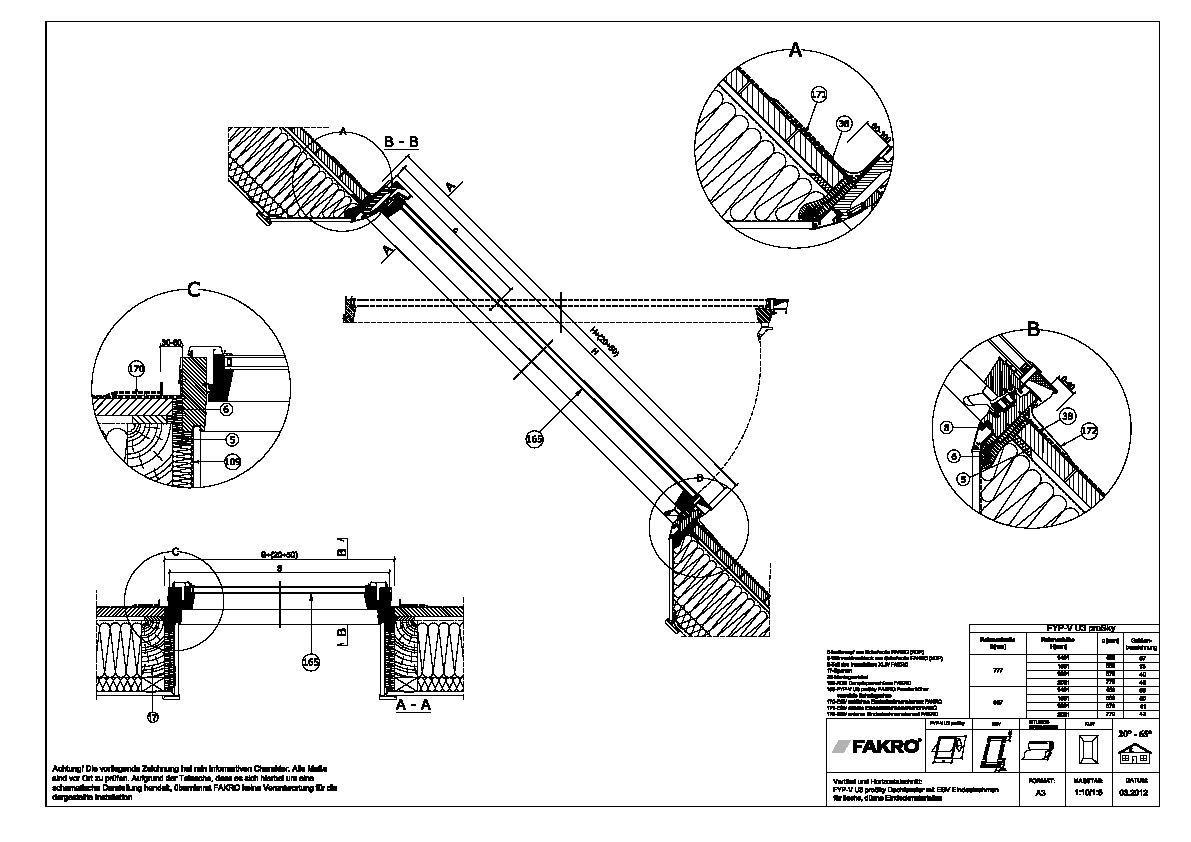 Dachfenster detail  CAD-Detail   ESV – Eindeckrahmen für flache Eindeckmaterialien ...