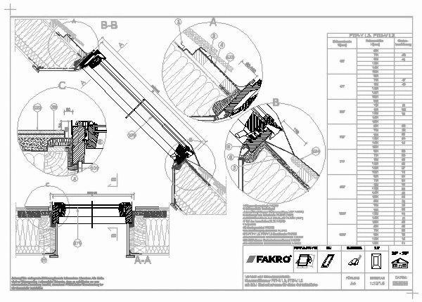 Dachfenster detail  CAD-Detail   EGJ – Eindeckrahmen für Schichtstücke   FAKRO ...