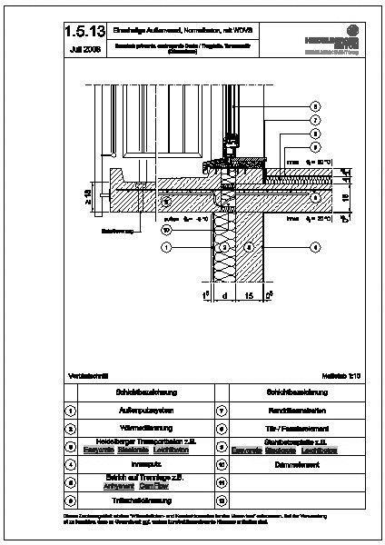 cad detail 1 getrennte auskragende decke trogplatte terrassent r d mmebene. Black Bedroom Furniture Sets. Home Design Ideas