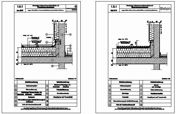 cad detail 1 6 1 loggien erker balkone terrassen durchfahrten unterer anschluss wandebene. Black Bedroom Furniture Sets. Home Design Ideas