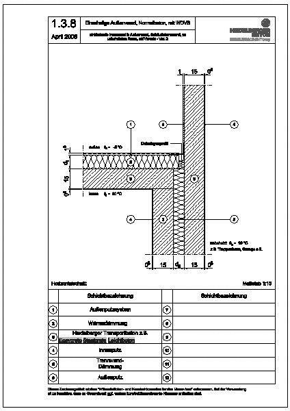 Cad detail 1 3 8 einbindende innenwand in au enwand geb udetrennwand zu unbeheiztem rau 2 - Beton innenwand ...