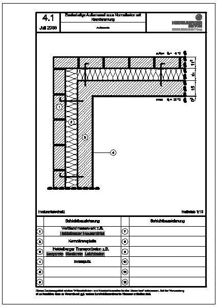 cad detail zweischalige au enw nde aus normalbeton mit kernd mmung heidelberger beton. Black Bedroom Furniture Sets. Home Design Ideas