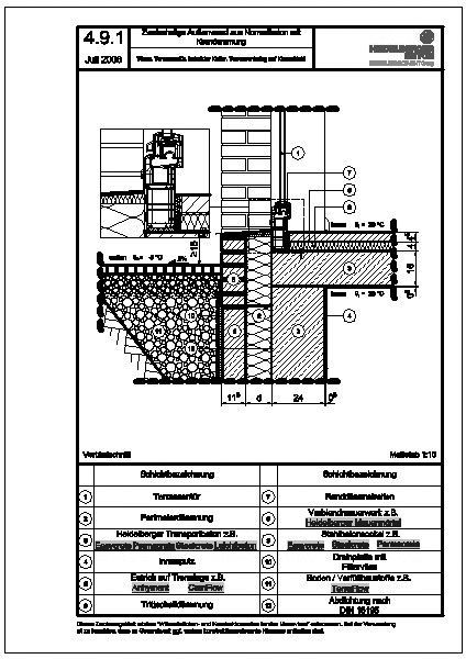 cad detail 4 9 1 t ren terrassent r beheizter keller terrassenbelag auf kiesschicht. Black Bedroom Furniture Sets. Home Design Ideas