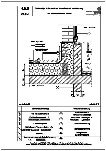 cad detail 4 9 5 t ren terrassent r an massives flachdach heidelberger beton. Black Bedroom Furniture Sets. Home Design Ideas