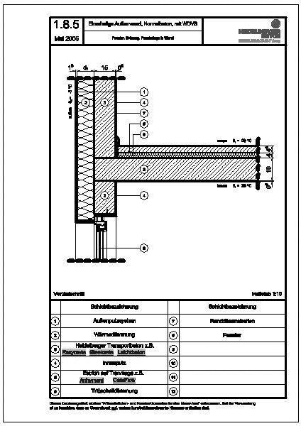 cad detail 1 8 5 fenster br stung fensterlage in wand heidelberger beton. Black Bedroom Furniture Sets. Home Design Ideas