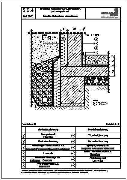 Heidelberger Beton   5.5.4_Bodenplatte  Streifengründung, Mit Innendämmung  (Format: DWG)