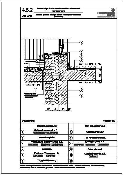 cad detail 4 5 2 thermisch getrennte auskragende decke balkonplatte terrassent r wandebene. Black Bedroom Furniture Sets. Home Design Ideas