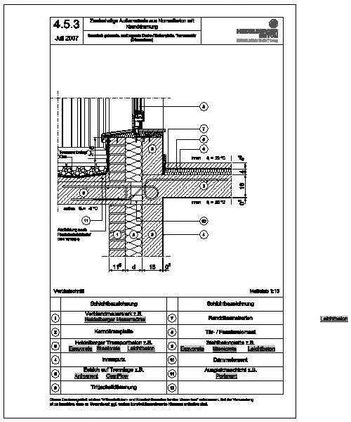 cad detail 4 5 3 thermisch getrennte auskragende decke balkonplatte terrassent r d mmebene. Black Bedroom Furniture Sets. Home Design Ideas