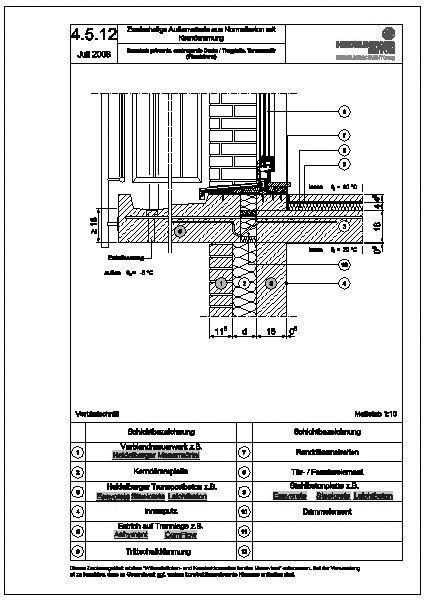 cad detail 4 getrennte auskragende decke trogplatte terrassent r wandebene. Black Bedroom Furniture Sets. Home Design Ideas