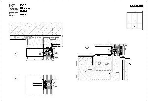 Haustüranschluss detail  CAD-Detail|THERM+_Stahlfassade_Riegel | RAICO Bautechnik - heinze.de