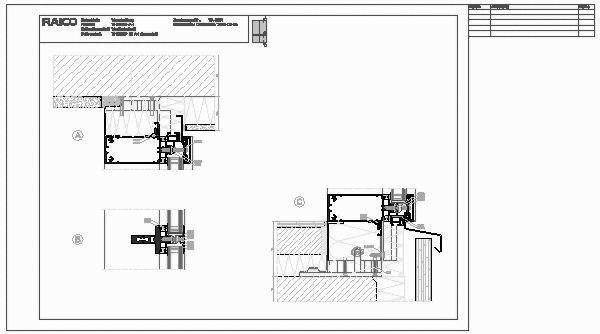 Holz HaustUr Technische Zeichnung ~ CAD Detail VA 0051 V Schnitt Fassade  RAICO Bautechnik  heinze de