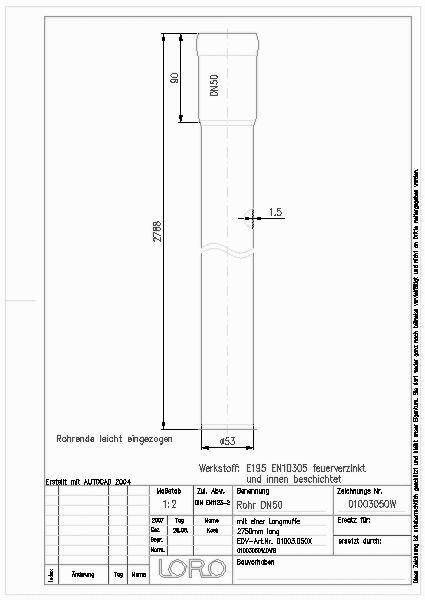 Bevorzugt CAD-Detail | LORO-X ROHR M.LANGMU.2750 MM DN 50 | LOROWERK - heinze.de EA26