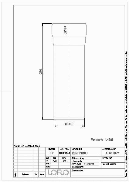 Cad Detail Loro Xcl Rohr 1 4301 1 Mu 250 Mm Dn 100 Lorowerk