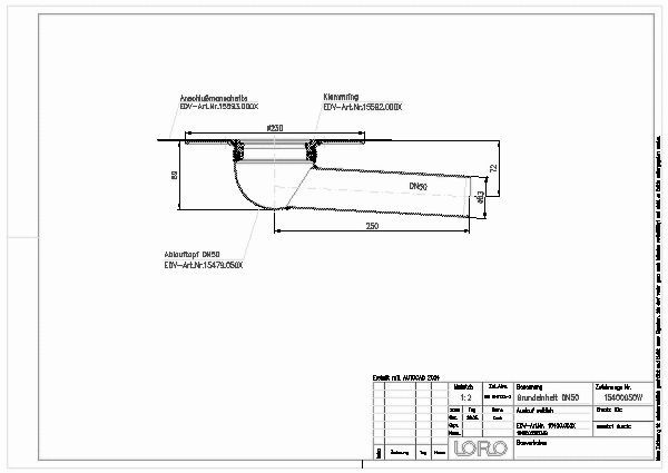 Fabulous CAD-Detail | LORO-X BALKON-GRUNDEINH.3GR.O.WD.DN 50 | LOROWERK VR85