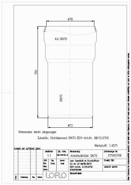 cad detail loro xcl anschlu st ka ht rohr 70 xcl. Black Bedroom Furniture Sets. Home Design Ideas