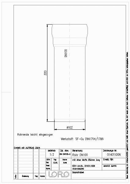 cad detail loro rohr cu 1 muffe 250 mm dn 100 lorowerk. Black Bedroom Furniture Sets. Home Design Ideas