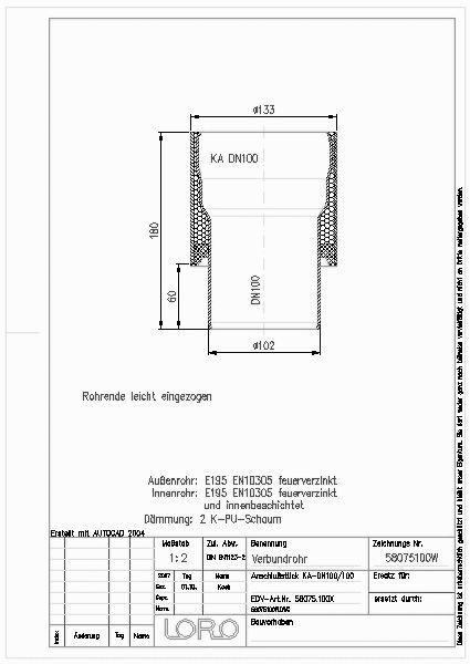 Cad Detail Loro Verbund Anschlussst An Ka Rohr Dn 100 Lorowerk