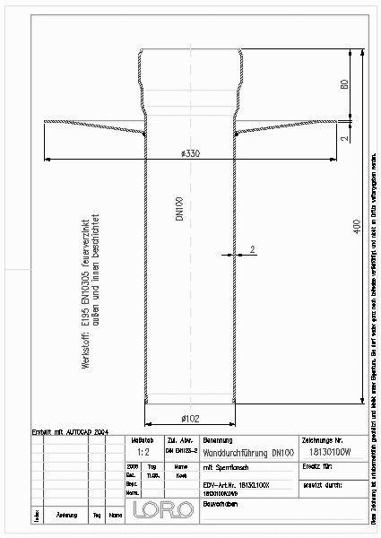 Top CAD-Detail|LORO-X ROHR-WAND-U.DECKENDURCHFUEHRUNG, DN 100  GT36