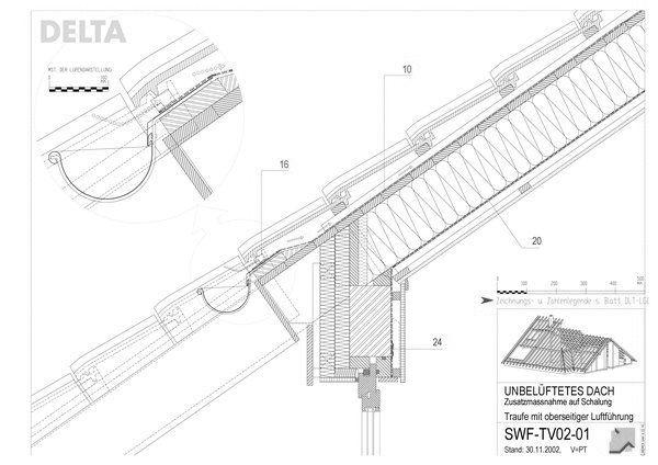 cad detail traufe mit oberseitiger luftf hrung d rken. Black Bedroom Furniture Sets. Home Design Ideas
