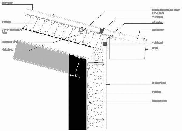 cad detail profilblechfassade und dach traufe sab profil. Black Bedroom Furniture Sets. Home Design Ideas