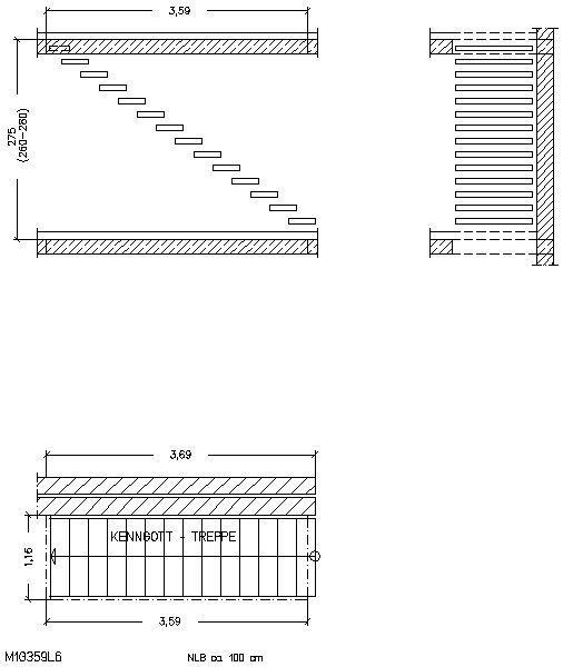 Treppen architektur detail  CAD-Detail|Geradläufig | Kenngott-Treppen - heinze.de