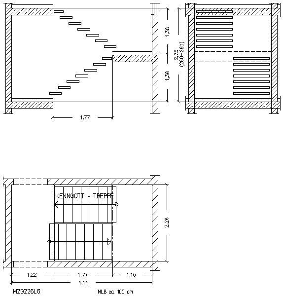 cad detail 2 x geradl ufig kenngott treppen. Black Bedroom Furniture Sets. Home Design Ideas