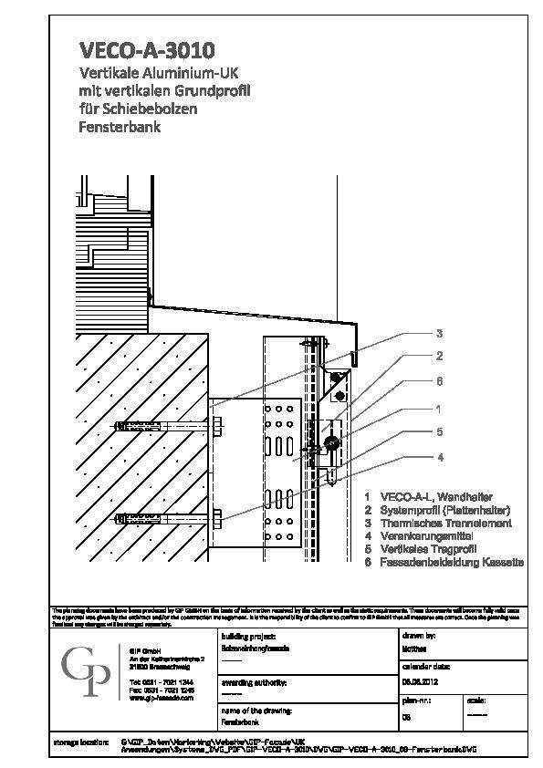 cad detail gip veco a 3010 08 fensterbank gip. Black Bedroom Furniture Sets. Home Design Ideas