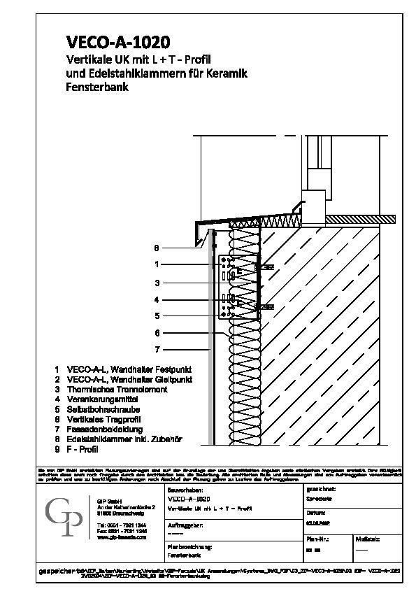 cad detail gip veco a 1020 03 08 fensterbank gip. Black Bedroom Furniture Sets. Home Design Ideas