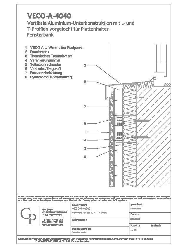 Holzfassade Detail cad detail gip veco a 4040 08 fensterbank gip heinze de
