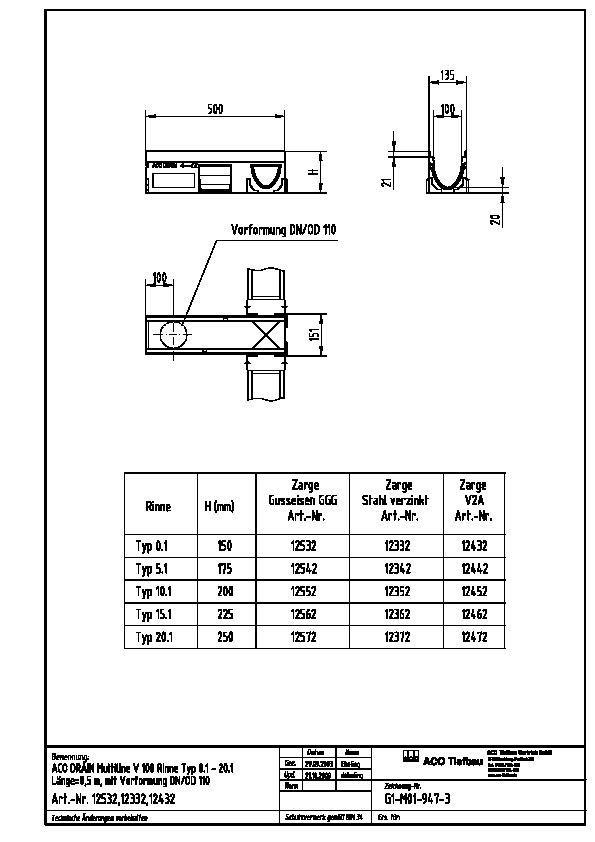 Beliebt CAD-Detail   V 100   ACO Tiefbau - heinze.de ES25